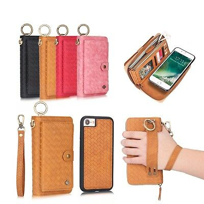 Leather Zipper Detachable Wallet Cover For iPhone X/XS Samsung S8 S9+ Note 8/9