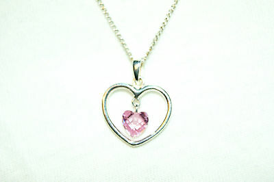 "925 Sterling Silver cubic zirconia PINK HEART pendant & 16"" chain, Valentines"