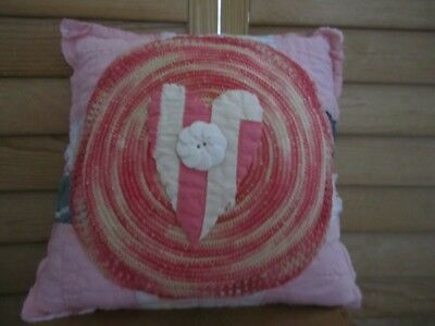 Primitive Quilted Pillow -  vintage doily - pink/white - heart - button