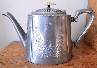 VICTORIAN 1874-94 ANTIQUE ORNATE CHASED SHEFFIELD SILVER PLATED 2 Pint TEA POT
