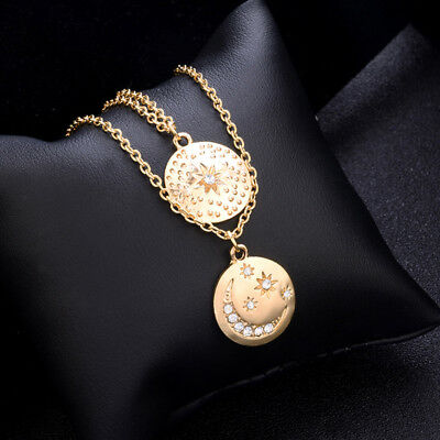 Women Star Moon Round Pendant Clavicle Necklace Double Chain Jewelery LH