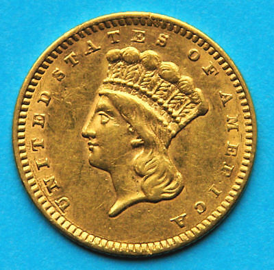 USA $1 1858 GOLD Indian Princess Large Head Type 3 selten
