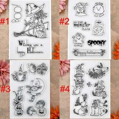 Happy Halloween Witch Cat Christmas Scrapbook DIY cards rubber stamp clear stamp