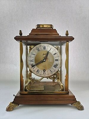 Vintage Schatz 8 Day 3 Train Walnut & Glass Chime Musical Mantel Clock