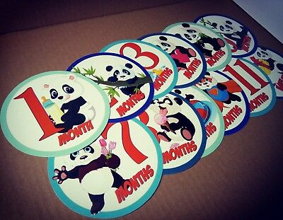 Pandas themed monthly bodysuit baby stickers