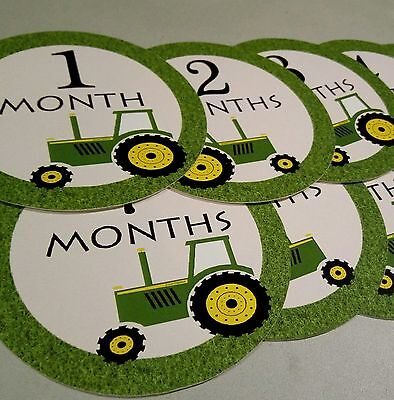 Monthly baby stickers. Tractor one piece month stickers. Tractor, John Deere