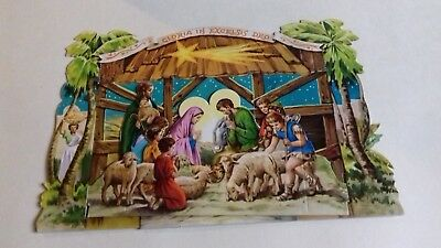 Pop Up Ancien-Nativity/Belle Creche De Noel En 3 D-Gloria In Exelsis Deo/Bergers
