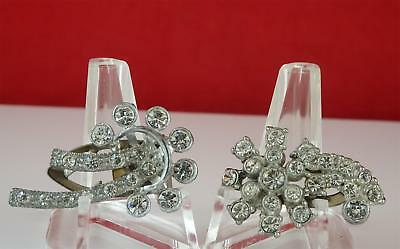 VINTAGE DRESS CLIP RHINESTONES ART PAIR DECO LOT1.25 INCHES Married Comets