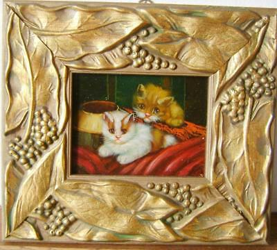 Animals White And Ginger Kittens Facing English School Oil Mid 19Thc