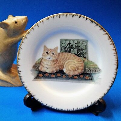 Cat Lovers! - Gilt Rimmed 13cm Porcelain Display Plate with Stand - Ginger Kitty
