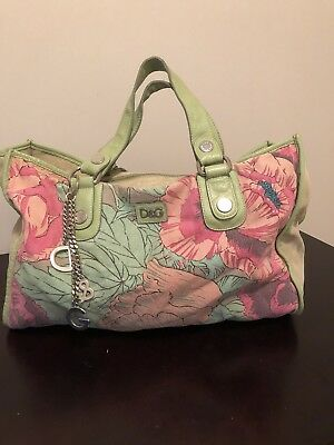 AUTHENTIC DOLCE   GABBANA LARGE SHOULDER BAG - Floral Lime Green w  Keychain 55fc0b24ae06b