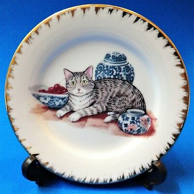 Cat Lovers! - Gilt Rimmed 13cm Porcelain Display Plate with Stand - Tabby