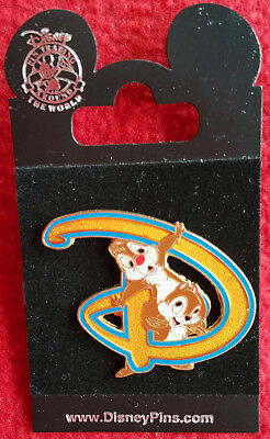 WDW Disney Collector Pin The Letter D Gold With Chip n' Dale  New -Original Card