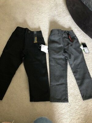 2 Pairs Of Next Boys School Trousers Age 3 Brand New