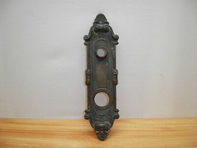 Old Door Plate Brass Backplate Hardware Knob Face Plate Victorian Fancy Antique