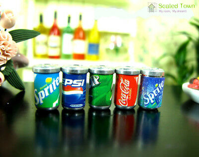 5 Dollhouse Miniature Soda Pop Cans Kitchen Food Drink Beverage Cola Pepsi 1/12