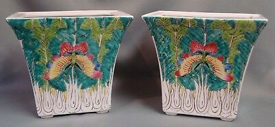 PAIR Large CHINESE Porcelain CABBAGE LEAF AND MOTH VASES Famille Verte