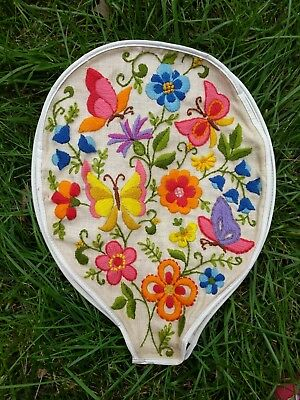 Vintage Embroidered Needlepoint Tennis Racket Cover Flowers Butterflies 10x14