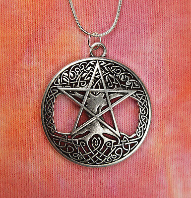 Pentagram on Celtic Knot Braid Tree of Life Necklace, Pagan Pentacle Pendant