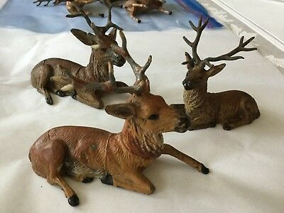 3 Piece Antique C 1930's Pot Metal Reindeer Stag Deer Christmas Putz Germany #13
