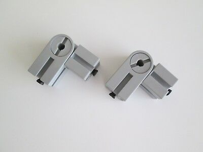 Fischertechnik 31008 Lot of 2 Elbow Joints 45 Vintage Gray - 2 pins Black.
