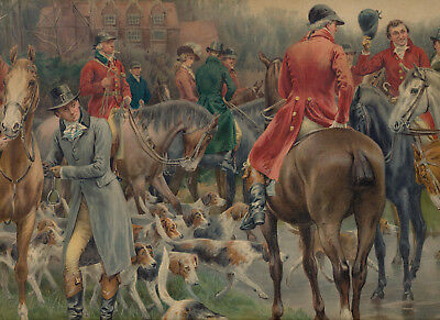 Antique Old Equestrian F DADD Art Print WINTERS MORNING Fox Hunt Horses & Hounds