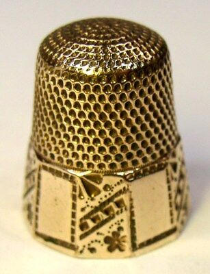 Antique Stern Bros. & Co. Ten Panel Gold Thimble Abstract Flower Design C 1890s