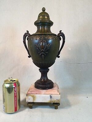 Antique Large French Victorian / Neoclassical Urn Foundry Seal Square Marble Bas