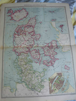 1900/1908 antique map DENMARK   15 in x 22 in approx Harmsworth Universal