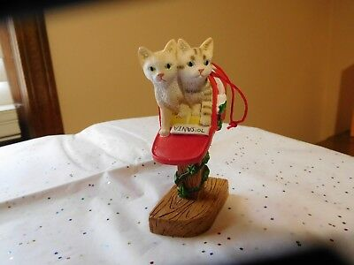 """2 Lovely Cats Kittens In Red Decorated Mailbox Christmas Tree Ornament 4"""" Cute!"""