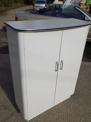 vintage,retro,1950's,white,painted,formica,cupboard,bow top,cabinet,shelves,