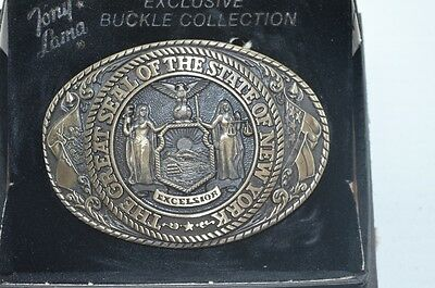 Tony Lama State Seal Series 1st Edition Belt Buckle 70's Brass Box New York