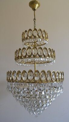 Large French 3 Tier Basket Style Vintage Brass Crystals Chandelier Antique Lamp