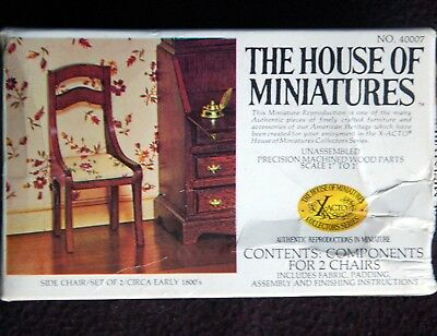House of Miniatures SIDE CHAIRS / KIT No. 40007 Contains 2 Chairs