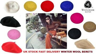 Ladies Womens Winter Warm Wool ® Beanie Beret Fashion Hat Parisian Block Colours