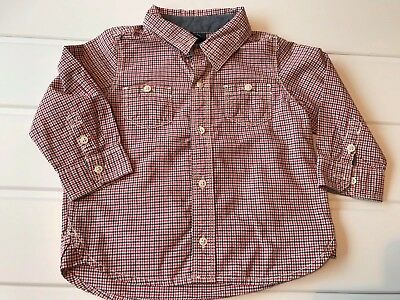 Baby Boy 6-12 Months GAP Checked Cotton Long Sleeve Shirt Red Blue
