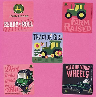 15 John Deere Pink Tractor Girl - Large Stickers - Party Favors