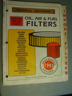 Rosenthal Automotive Marketing Import Filters 1991 Catalog Oil Air Fuel Quick Rf