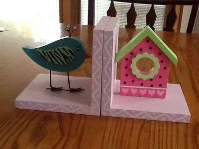 Pretty Pink and Aqua and Green bird with birdhouse bookends from hobby lobby!
