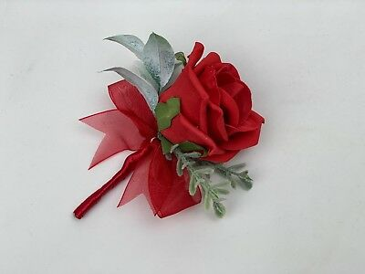 Wedding buttonhole ,corsage ladies ,flowers red pin groom bride bouquet mothers