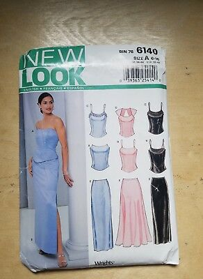 Uncut New Look Sewing Pattern 6140 Cocktail Top & Floor Length Skirt Size 6-16 A