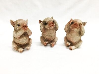 Resin 3 Little Pigs, Hear No Evil, Say No Evil, And See No Evil