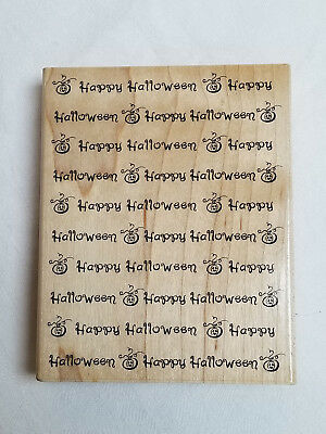HAPPY HALLOWEEN Text Wood Mounted Rubber Stamp NORTHWOODS DD9170 New