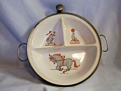 Vintage Circus Illustrated Baby/Child Hot Water Warming Dish, G W Co.