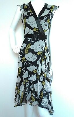HOBBS floral print wrap dress size 8 --USED ONCE-- knee length 100% silk