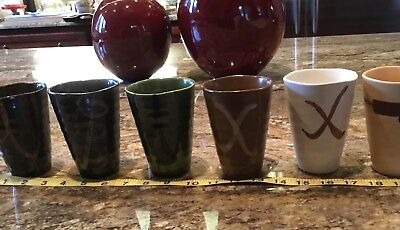 Lot Of 6 Hand Made Wheel Thrown Art Pottery Cups/glasses New Artisan