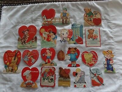 Vintage kids  valentines 1940s  Lot of 17  skis, subway, nuts, walrus