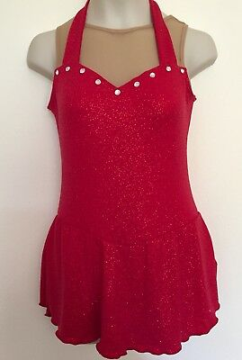 Figure Skating Competition Dress Child L Large Ice Skate Chloe Noel Crystals Red