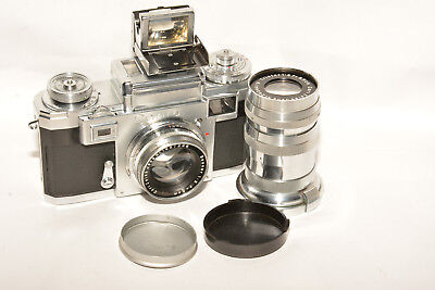 Zeiss Ikon Contax Iiia Color Dial Rangefinder Camera W/ 2 Lenses, & 50/85 Finder