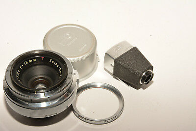 CARL ZEISS BIOGON 35mm, f2.8 LENS W/FINDER, FILTER & REAR CAP. SUPERB CONDITION.